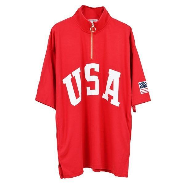 Tシャツ カットソー ハーフジップ 半袖 スタンドカラー ビッグシルエット 星条旗 USA ロゴ プリント トップス メンズ|styleblock|06