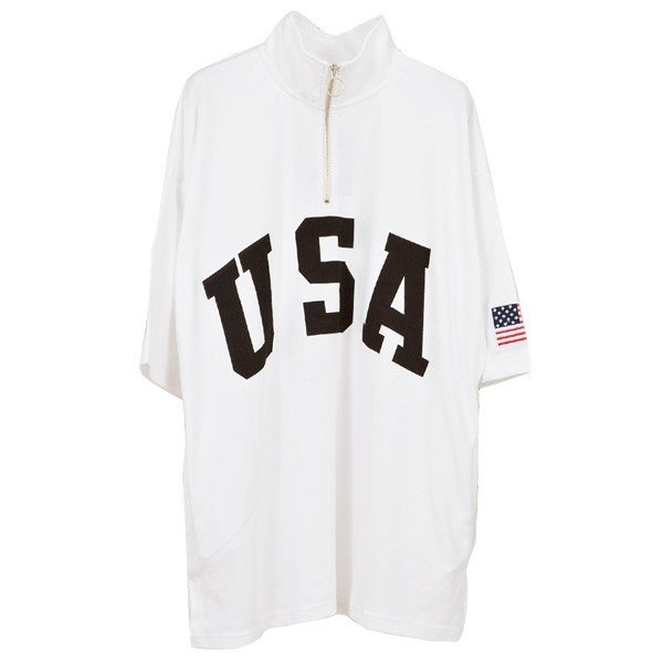 Tシャツ カットソー ハーフジップ 半袖 スタンドカラー ビッグシルエット 星条旗 USA ロゴ プリント トップス メンズ|styleblock|07