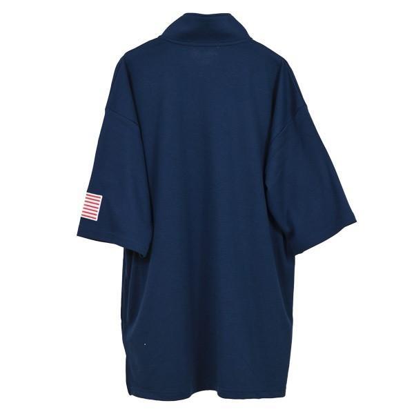 Tシャツ カットソー ハーフジップ 半袖 スタンドカラー ビッグシルエット 星条旗 USA ロゴ プリント トップス メンズ|styleblock|09