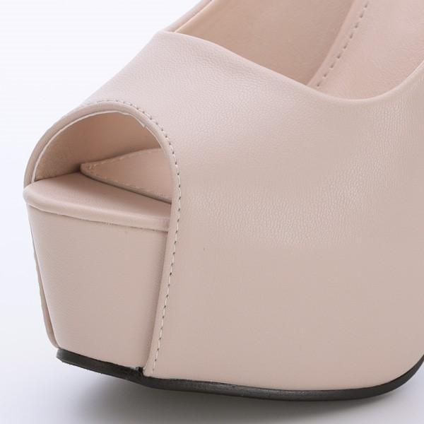 パンプス プラットフォーム ピンヒール ハイヒール 14cmヒール オープントゥ 合皮 PUレザー 靴 シューズ レディース