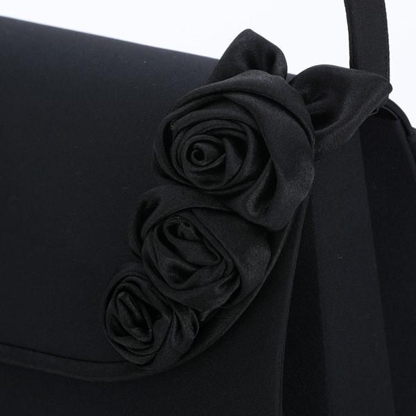 ハンドバッグ ブラックフォーマル  冠婚葬祭 パーティー 披露宴 フォーマル 小物 フォーマルバッグ バラ コサージュ付き レディース