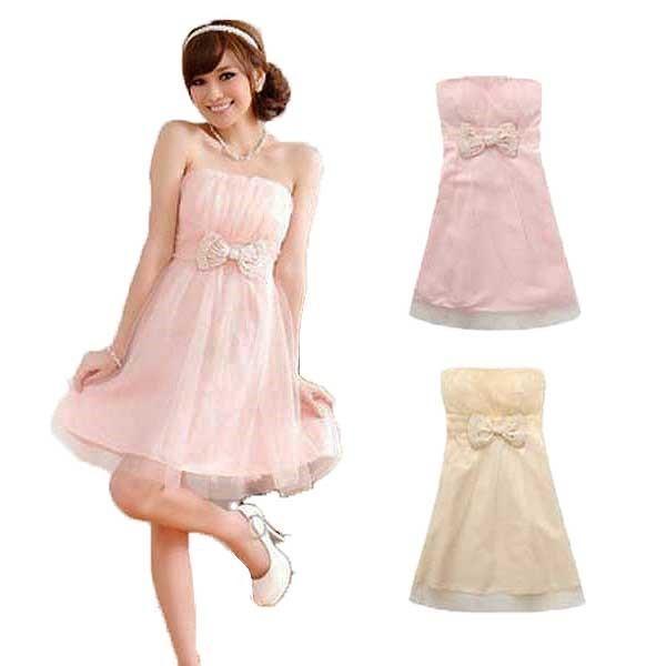 6aae8338b244b キュートなリボンが可愛らしい♪♪ チューブトップドレスだからデコルテラインがスッキリ!! セクシーさと可愛さがあって素敵◎