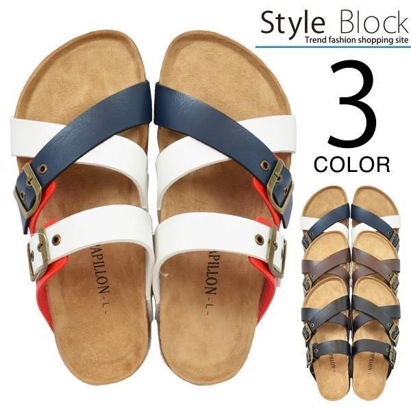 サンダル コンフォートサンダル ダブルベルト フラット 合皮 コルク シンプル シューズ 靴 メンズ|styleblock
