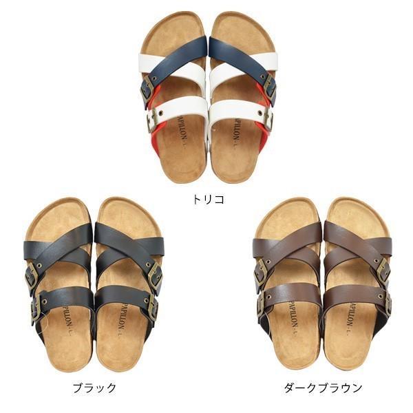サンダル コンフォートサンダル ダブルベルト フラット 合皮 コルク シンプル シューズ 靴 メンズ|styleblock|02
