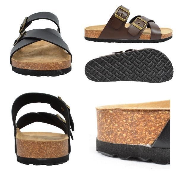 サンダル コンフォートサンダル ダブルベルト フラット 合皮 コルク シンプル シューズ 靴 メンズ|styleblock|03