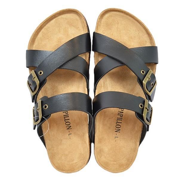 サンダル コンフォートサンダル ダブルベルト フラット 合皮 コルク シンプル シューズ 靴 メンズ|styleblock|06