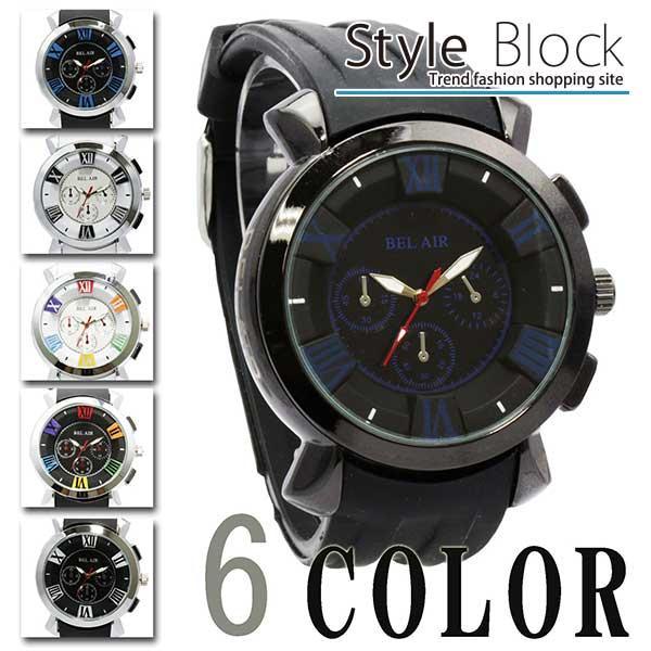 腕時計 ミディアムフェイス フェイス メンズ ラバーベルト防水 ユニセックス Bel Air Collection ネイビー ホワイト ブラック ブルー