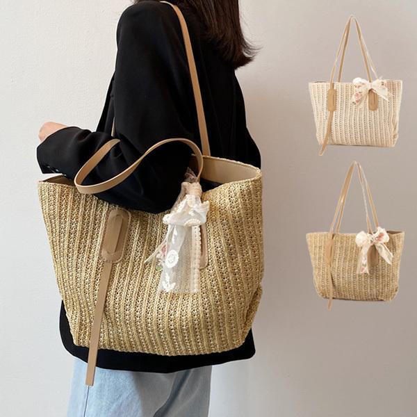 かごバッグ ショルダーバッグ リボン ストロー素材 A4 大きい 無地 夏 バッグ 鞄 レディース