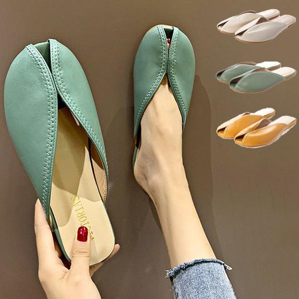 春夏 サンダル レディース 夏 フラット 履きやすい 室内 スリッパサンダル 折り畳み可能 軽量 ペタンコ ローヒール PUレザー オープントゥ シューズ 靴