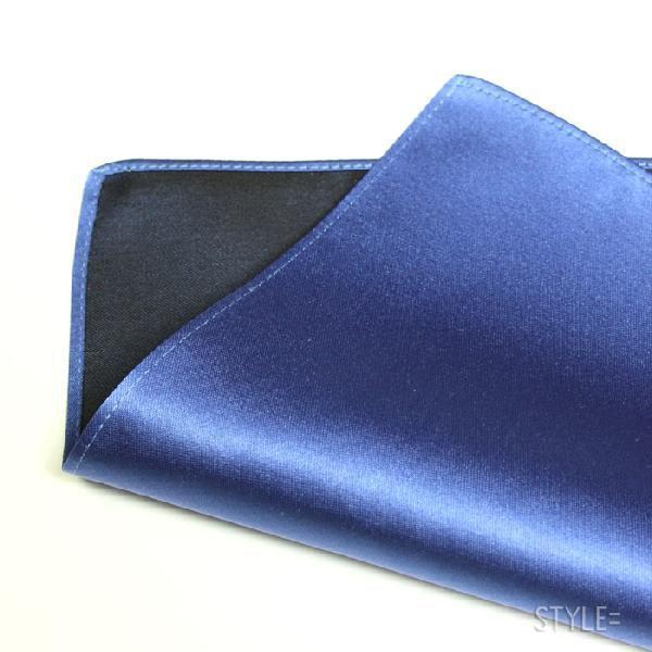 ポケットチーフ / ジャカード織 シルク / 無地 ブルー (青) 日本製 |styleequal|02