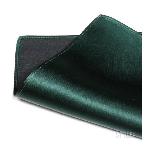 ポケットチーフ / ジャカード織 シルク / 無地 フォレスト グリーン (深緑) 日本製|styleequal|02