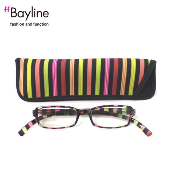 老眼鏡 おしゃれ 男女兼用 軽量 ネックリーダーズ 首かけ ブルーライトカット 眼鏡ケース付き クリアストライプ(ブラックマルチ) Bayline ベイライン