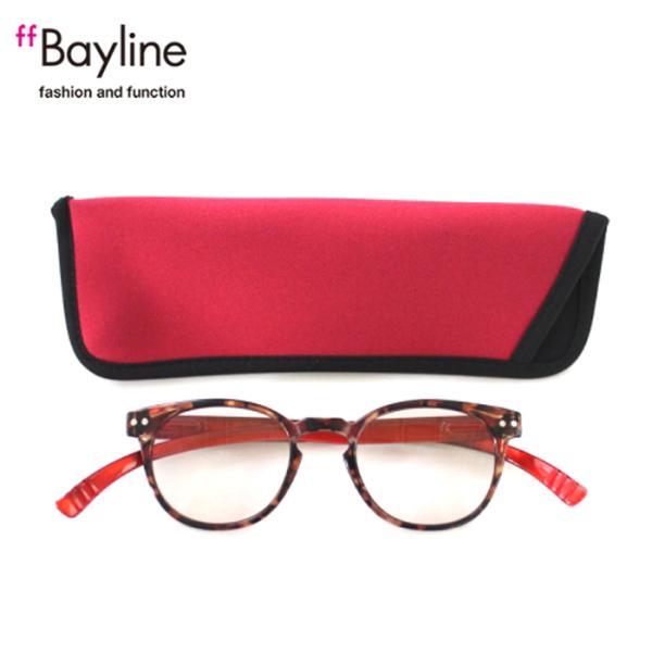 老眼鏡 女性 おしゃれ 男女兼用 軽量 ネックリーダー ボストン ブルーライトカット 眼鏡ケース付き デミブラウン×レッド