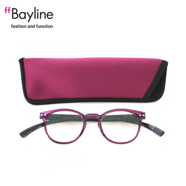 老眼鏡 女性 おしゃれ 男女兼用 軽量 ネックリーダー ボストン ブルーライトカット 眼鏡ケース付き バイカラー(クリアパープル×ダークグレー)