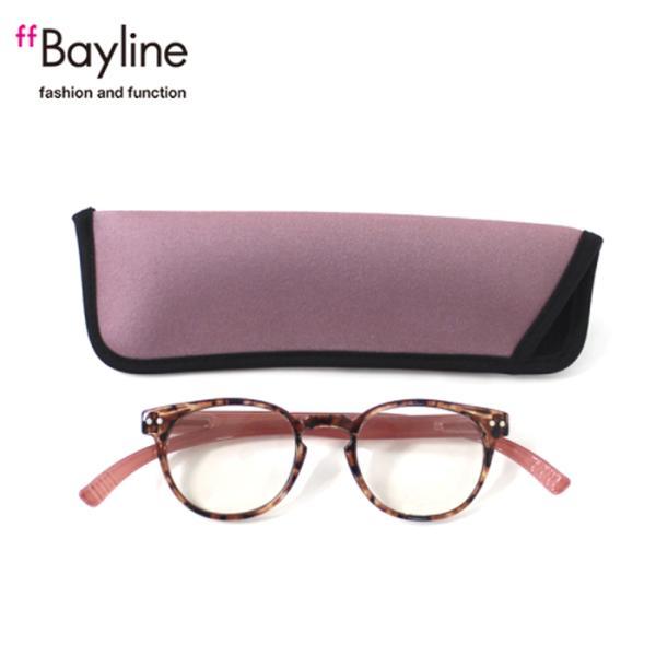 老眼鏡 女性 おしゃれ 男女兼用 軽量 ネックリーダー ボストン ブルーライトカット 眼鏡ケース付き バイカラー(デミブラウン×ピンク)