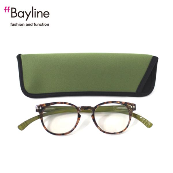 老眼鏡 女性 おしゃれ 男女兼用 軽量 ネックリーダー ボストン ブルーライトカット 眼鏡ケース付きバイカラー(デミブラウン×グリーン)
