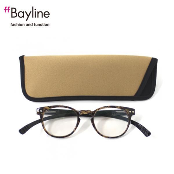 老眼鏡 女性 おしゃれ 男女兼用 軽量 ネックリーダー ボストン ブルーライトカット 眼鏡ケース付き バイカラー(デミブラウン×ブラック)