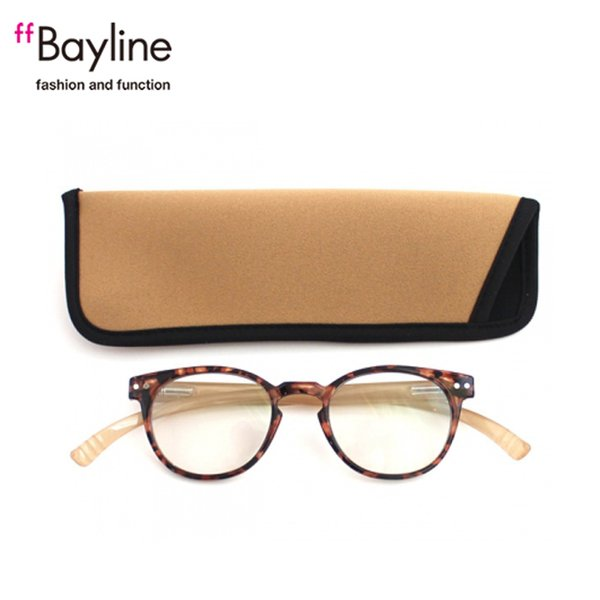 老眼鏡 女性 おしゃれ 男女兼用 軽量 ネックリーダー ボストン ブルーライトカット 眼鏡ケース付き バイカラー (デミブラウン×シャイニーベージュ)