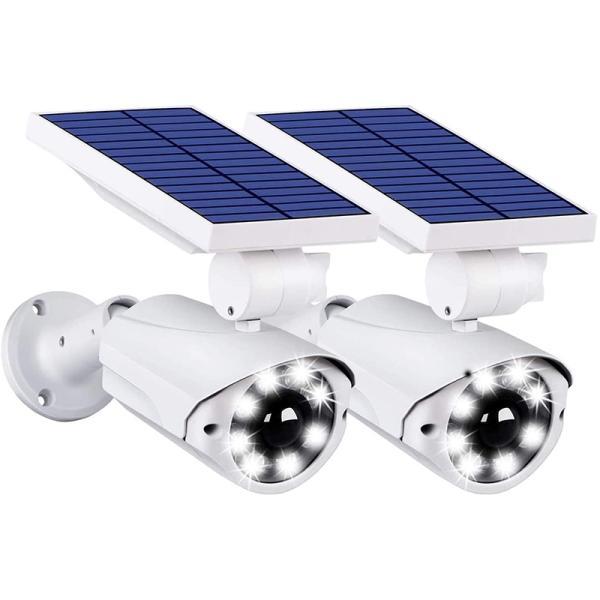 人感センサーライト 屋外 ソーラーライト 防犯カメラ型 IP66防水・防塵 省エネ 太陽光充電 配線・電源不要 8LED 自動夜間点灯 360°角度調節可能 2台セット