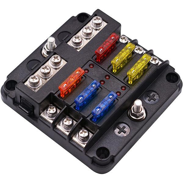 6ウェイ 回路カーボート ヒューズボックス ホルダー 防水 LED警告ライト キット付き ブロックヒューズ ブレードヒューズ 5A 10A 15A 20A 自動車 DC 12V-32V