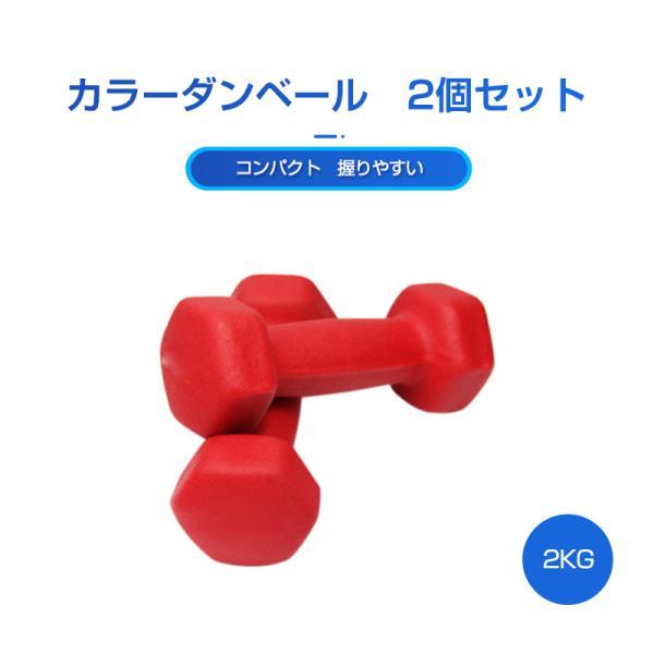 カラーダンベル 2個セット 2KG 筋トレ 女性 コンパクト 持ちやすい ダイエット エクササイズ トレーニング 鉄アレイ 女性用 ダンベル 滑りにくい