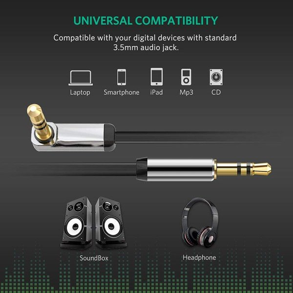 オーディオケーブル 片側L型 ステレオミニプラグ 3.5mm AUX接続 高音質再生 ブラック 2m cpddm