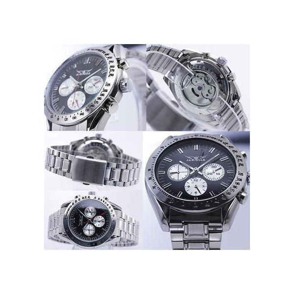 自動巻き 腕時計 メンズ 送料無料 1年保証 全針稼動の本格仕様 バイカラー自動巻きクロノグラフ腕時計 BOX 保証書付き WT-PR|styleon|02