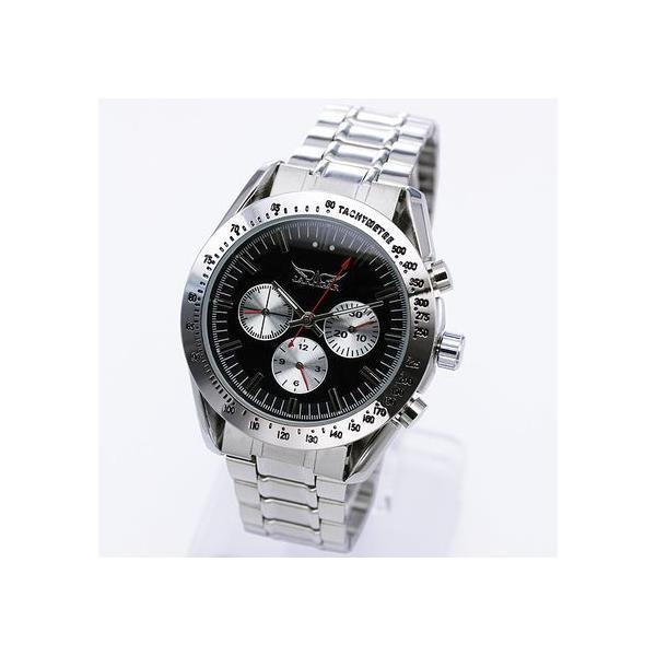 自動巻き 腕時計 メンズ 送料無料 1年保証 全針稼動の本格仕様 バイカラー自動巻きクロノグラフ腕時計 BOX 保証書付き WT-PR|styleon|03