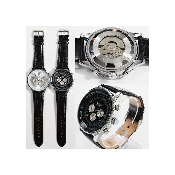 自動巻き 腕時計 メンズ 送料無料 1年保証 全針稼動の本格仕様 ビッグフェイス 自動巻き クロノグラフ 腕時計 BOX 保証書付き 0125 1210|styleon|03