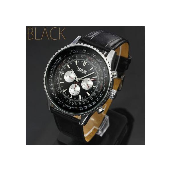 自動巻き 腕時計 メンズ 送料無料 1年保証 全針稼動の本格仕様 ビッグフェイス 自動巻き クロノグラフ 腕時計 BOX 保証書付き 0125 1210|styleon|05