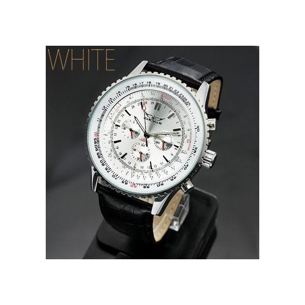 自動巻き 腕時計 メンズ 送料無料 1年保証 全針稼動の本格仕様 ビッグフェイス 自動巻き クロノグラフ 腕時計 BOX 保証書付き 0125 1210|styleon|06