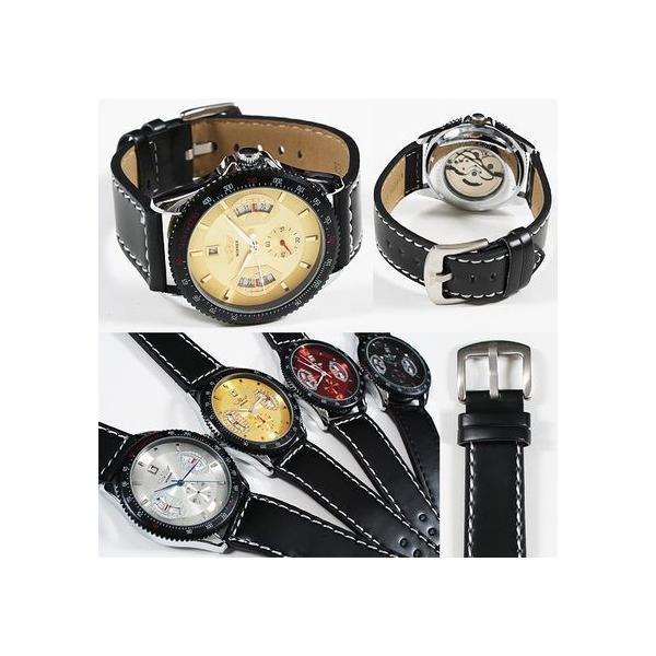 自動巻き 腕時計 メンズ 送料無料 1年保証 カレンダー 機能付き 自動巻 バックスケルトン 腕時計 BOX 保証書付き|styleon|02