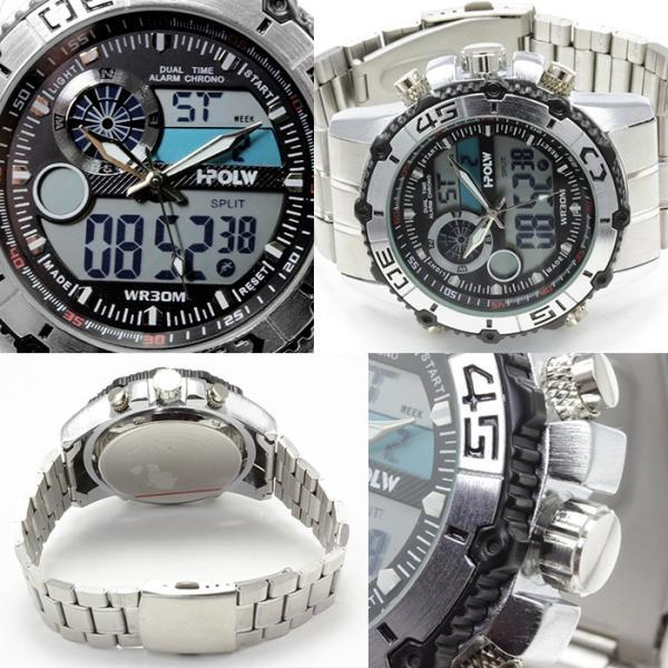 腕時計 メンズ アナデジ 送料無料 1年保証 BOX付き  腕時計 アナログ & デジタル デュアルタイム 腕時計 全4色 WT-FA  WS  0125 0825|styleon|02