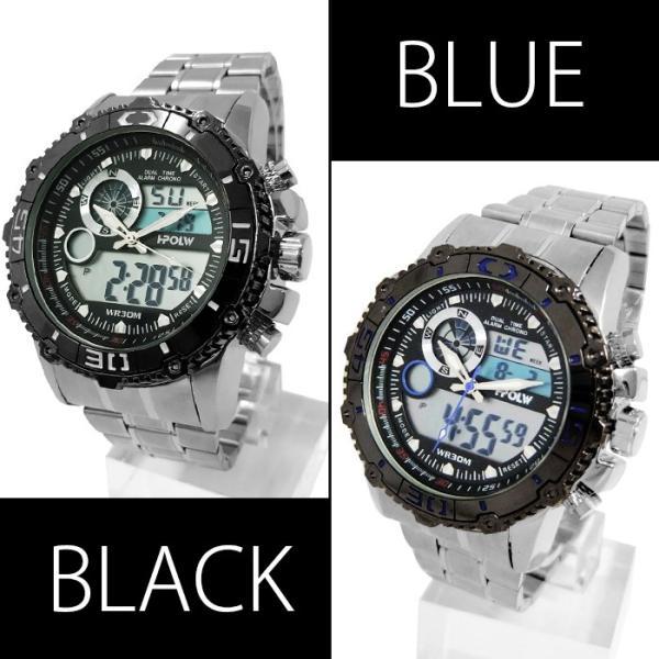 腕時計 メンズ アナデジ 送料無料 1年保証 BOX付き  腕時計 アナログ & デジタル デュアルタイム 腕時計 全4色 WT-FA  WS  0125 0825|styleon|03
