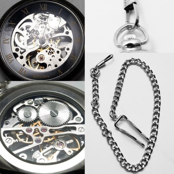 懐中時計 メンズ 手巻き 送料無料 1年保証  全5色 懐中時計 手巻き 機械式ムーブメント フルスケルトン BOX・保証書付き|styleon|02