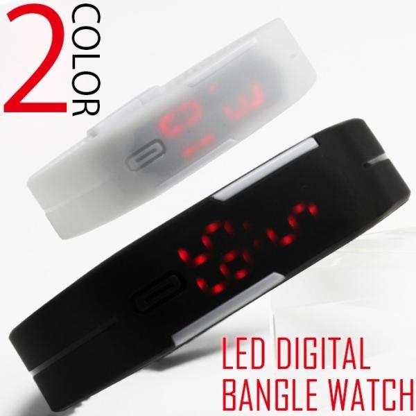 腕時計 メンズ レディース 送料無料 1年保証 BOX付き 全9色  アーバン デジタル LEDバングル ブレスレット 腕時計 WT-FA|styleon