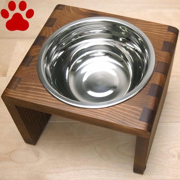 ペット用 食器&食器スタンド セット シングル Mサイズ ブラウン フードボウル 食器台 フード入れ 水入れ 水飲み 皿 おしゃれ かわいい 無地 茶色