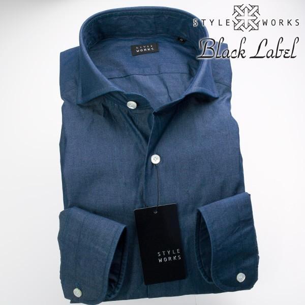 ワイシャツ  長袖1705 ワイシャツ カッタウェイワイド インディゴシャンブレー 製品洗い加工 ※色落ち  2106FS_rsd