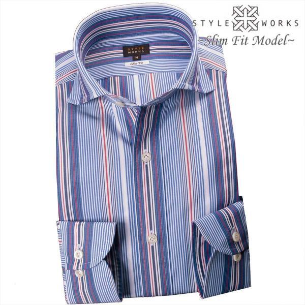 ワイシャツ 長袖 ドレスシャツ 綿100% スリムフィット カッタウェイワイド ストライプ プレゼント 【OUTLETS】  2106FS_rsd