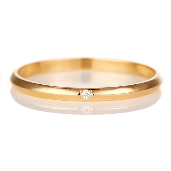 ペアリング ピンクゴールド 甲丸 2本セット ダイヤモンド セール 母の日 春