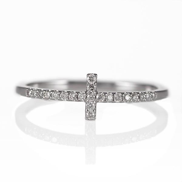 リング 指輪 十字 クロス ダイヤモンド ホワイトゴールド セール 母の日 春