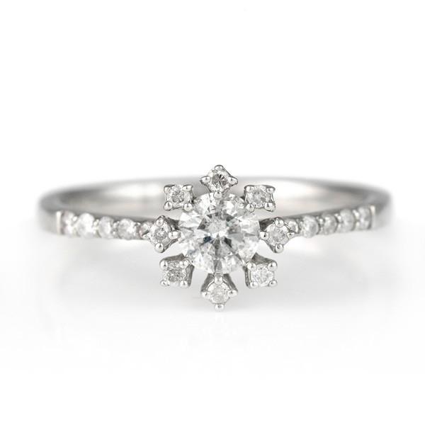 リング 指輪 ダイヤモンド 雪 花 フラワー プラチナ 0.3ct セール 母の日 春