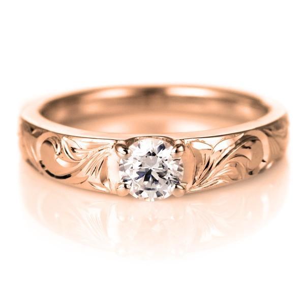 ハワイアンジュエリー 指輪 ピンキーリング 鑑別書付き ダイヤモンド リング 一粒 大粒 ピンクゴールド K18 18金 K18PG セール 母の日 春