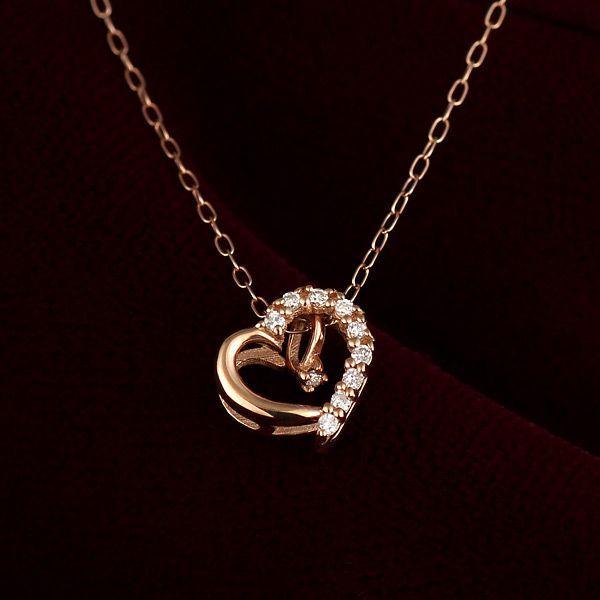 ダイヤモンド ハート オープンハート ネックレス ピンクゴールド ダイヤモンド ペンダント ネックレス プレゼント -QP 結婚 10周年記念 あすつく セール