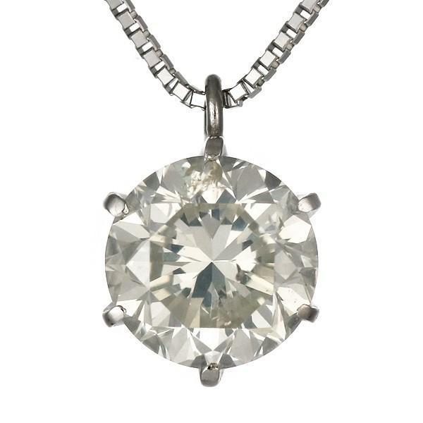 ネックレス レディース 天然石 プラチナ ダイヤモンド ネックレス ソリティア 一粒 大粒 レディース 1.5ct 1.5カラット ダイヤモンド 1カラット 以上 鑑別書付