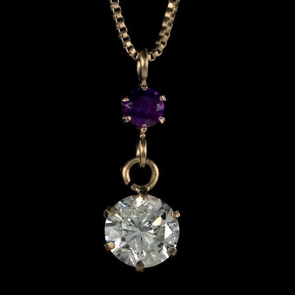 ペンダント ダイヤモンド ネックレス ゴールド 18金 ダイヤモンド ペンダント ダイヤモンド ダイヤ 0.3カラット レディース アメジスト 誕生日プレゼント セール