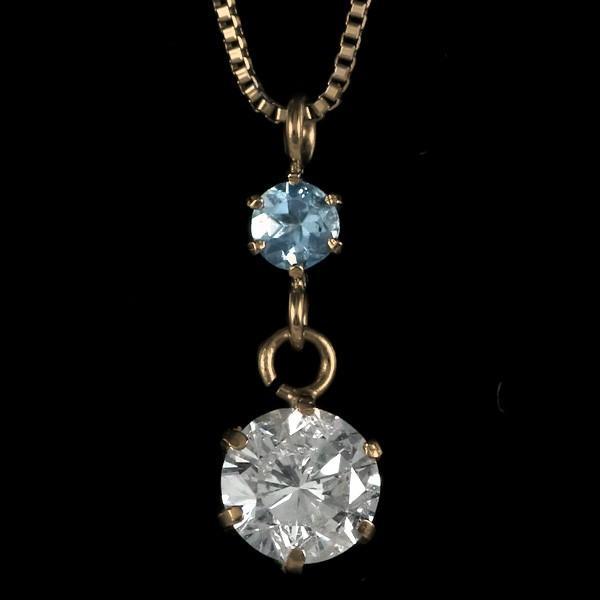 ペンダント ダイヤモンド ネックレス ゴールド 18金 ダイヤモンド ペンダント ダイヤモンド ダイヤ 0.3カラット レディース アクアマリン 誕生日プレゼント