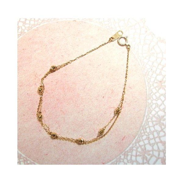 K18(ゴールド) 地金 ジガネ ブレスレット レディース