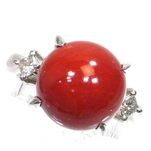Pt900(プラチナ) 赤珊瑚 指輪 リング レディース  ソーティング付き