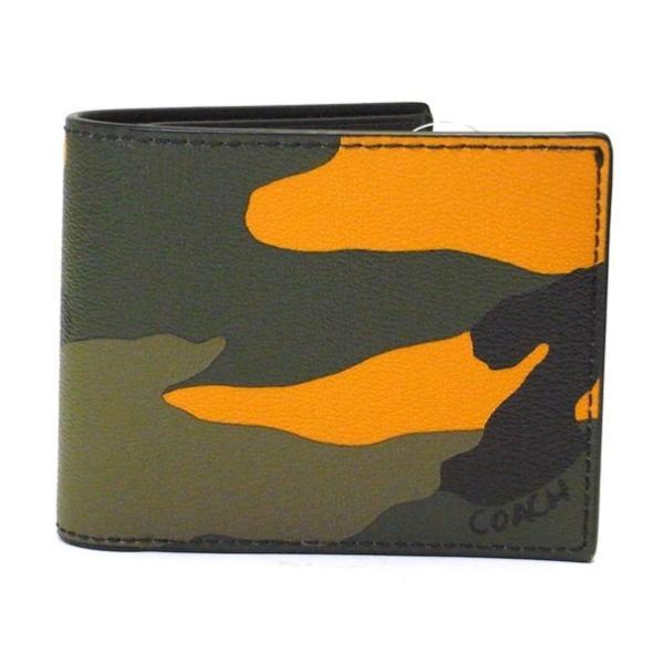 752a50bd973e COACH コーチ 二つ折り財布 PVC 迷彩柄 カモフラ オレンジマルチ F32438 メンズ ファクトリー品| ...